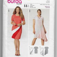 Plus Size 18-28 Burda 6784 Women Fitted Dresses Sewing Pattern /Uncut