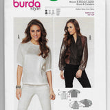 Size 8-18 Burda 6841 Women Blouse and Blouson Jacket Sewing Pattern /Uncut