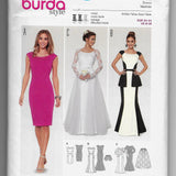 Size 8-18 Burda 6869 Bridal Wedding Gown Dresses Sewing Pattern /Uncut