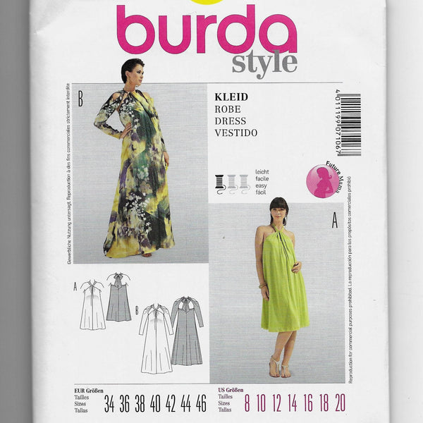 Size 8-20 Burda 7106 Women Loose-fitting Halter or Maternity Dresses Sewing Pattern Uncut