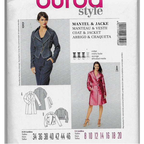 Size 8-20 Burda 7190 Women Coat Jacket Sewing Pattern /Uncut