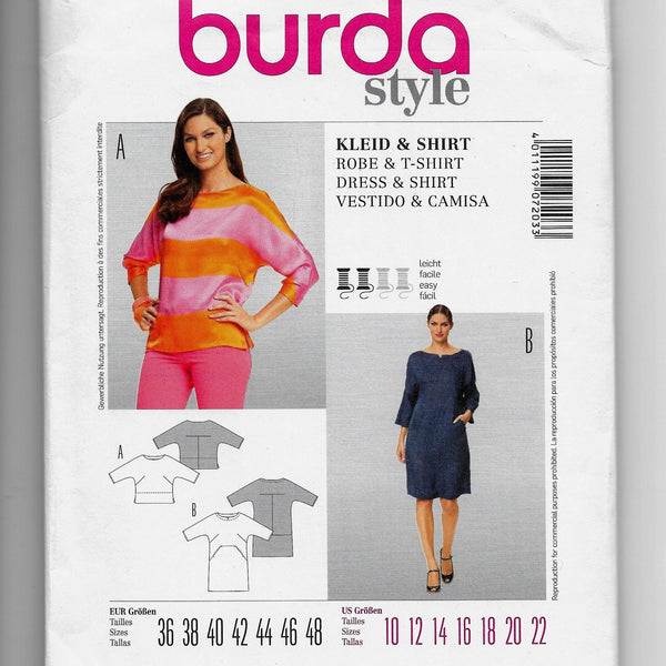 Sizes 10-18 - Burda Style 7203 Women Shirt Dress Sewing Pattern / Uncut