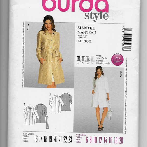 Size 6-20 Burda 7237 Women Long Coat Sewing Pattern /Uncut