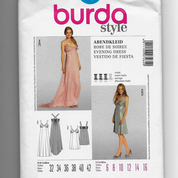 Size 6-16 Burda 7262 Women Sleeveless Evening Dresses Sewing Pattern Uncut