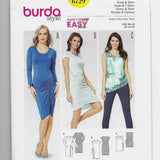 Size 10-20 Burda 6729 Super Easy Women Fitted Tie-String Dresses Top Sewing Pattern Uncut