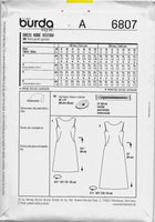 Size 8-20 Burda 6807 Women Sleeveless Dresses Sewing Pattern /Uncut