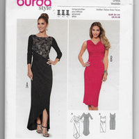 Size 8-18 Burda 6867 Women Evening Fitted Dresses Sewing Pattern /Uncut