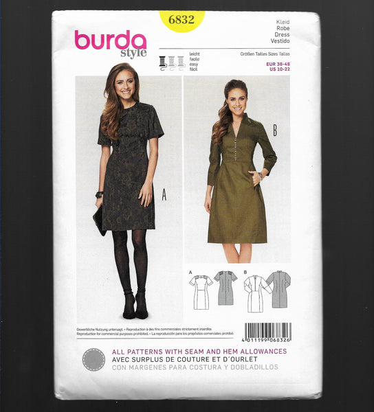 Sizes 10-22 Fitted Sporty Dresses Burda 6832 Sewing Pattern, Uncut