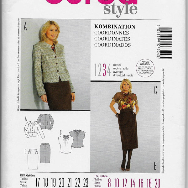 Size 8-20 Burda 7324 Women Jacket Shirt and Skirt Coordinates Sewing Pattern /Uncut