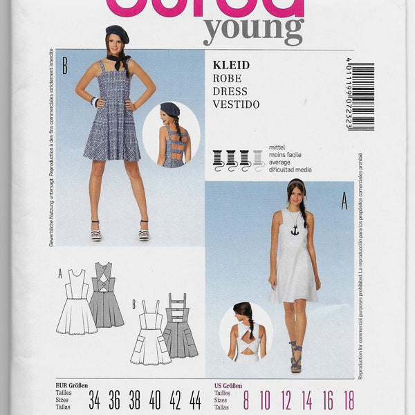 Size 8-18 Burda 7232 Young Women's Open-back Dresses Sewing Pattern /Uncut