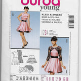 Size 6-18 Burda 7308 Young Women Party Dress and Bolero Sewing Pattern Uncut
