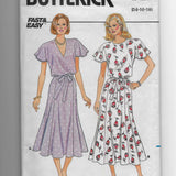 Size 14-18, Vintage 1980s Pullover Dress Butterick 3744 Sewing Pattern, Fast & Easy /Uncut