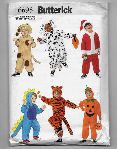 Children's Costumes Butterick 6695 - Dog Dalmatian Santa Dinosaur Tiger Pumpkin Jumpsuit /Pajamas - Uncut