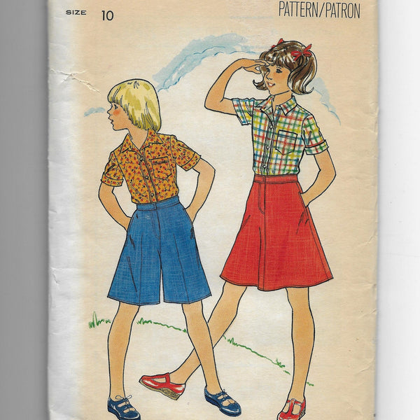 Size 10 Girls Vintage Shirt Skirt Culotte Vintage 70s Butterick 5383 Sewing Pattern Uncut