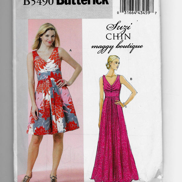 Size 8-14 Butterick Women Dresses B5490 Suzi Chin Maggie Boutique Sewing Pattern Uncut