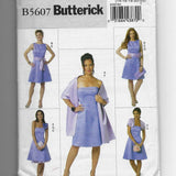 Size 14-22 Women Dress Slip Shrug Sash Shawl Flower Butterick B5607 Sewing Pattern Uncut