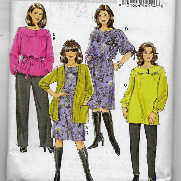 18W 20W 22W 24W - Women's /Women's Petite Cardigan, Top, Tunic, Dress, Belt and Pants Butterick B5692 Sewing Pattern /Uncut