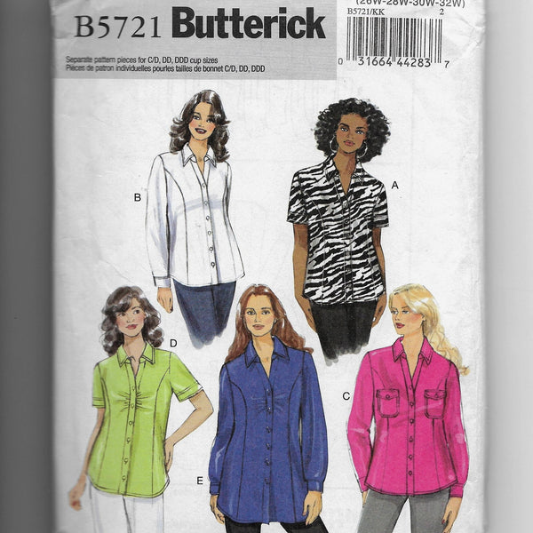 Sizes 26W-32W, Women's Fitted Shirts Butterick B5721 Sewing Pattern, Uncut