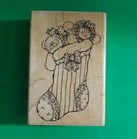 Christmas Stuff with Toys Stocking Wood Mounted Rubber Stamp, Retired Vintage 1990s DOTS U132