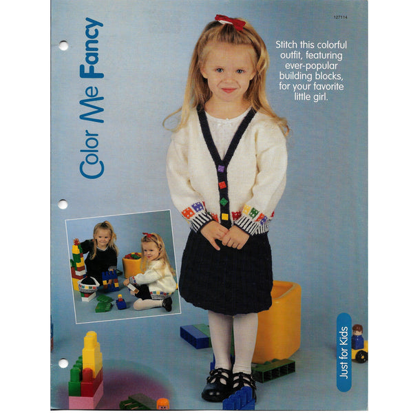 Color Me Fancy Little Girl's V-neck Sweater and Skirt Set Knit Pattern #127114