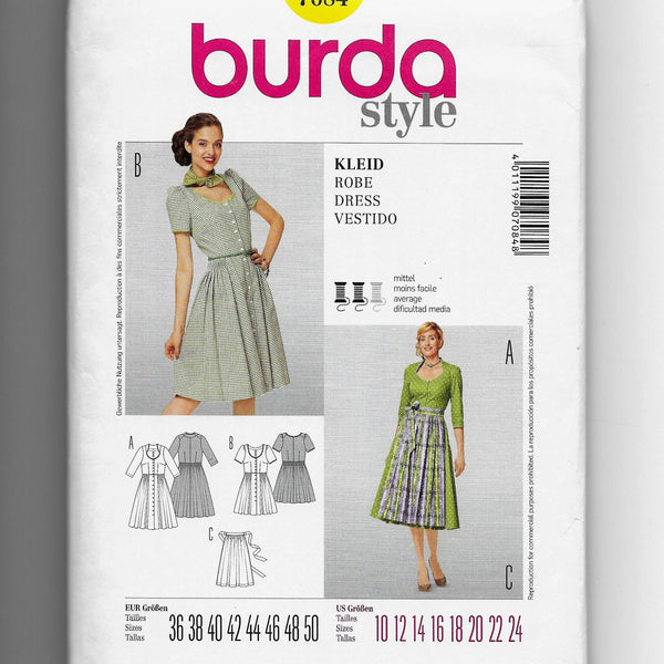 Size 10-24 Burda 7084 Women Dirndl Apron Dresses Sewing Pattern Uncut