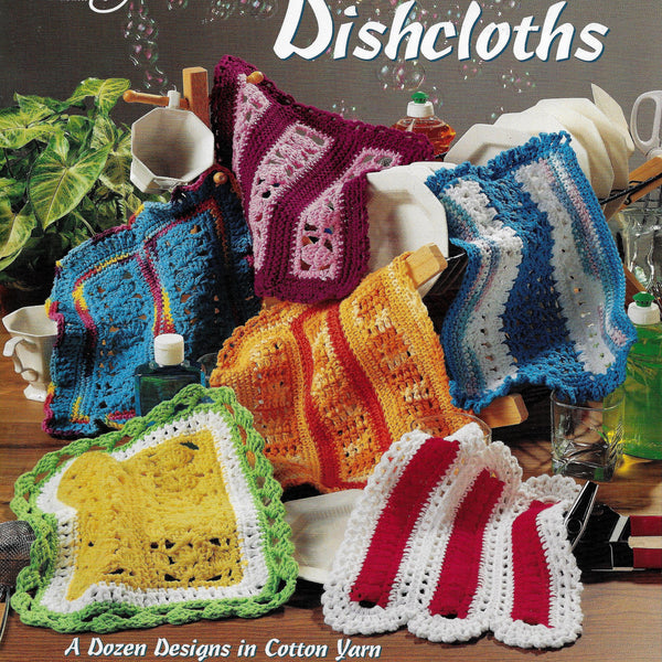 Dishcloths Crochet Patterns, Mile-a-Minute, Dozen Designs in Cotton Yarn