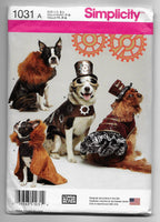 Dogs Steampunk Clothes Sewing Pattern - Hats Coats - Simplicity 1031 Size S-M-L /Uncut
