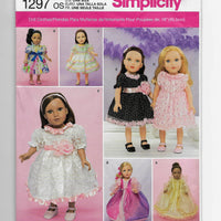 "Size 18"" Dolls Party Dresses Ball Gowns Sewing Pattern Simplicity 1297 Uncut"