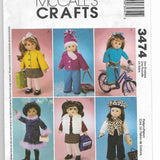 "18"" Doll Clothes McCall's Crafts 3474 Uncut"