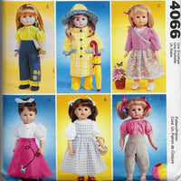 "18"" Doll Clothes Sewing Pattern McCalls Crafts 4066 - Dress, Outfits, Coat, Shirts, Tops, Pants, Skirt, Hat, More - Uncut"