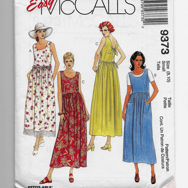 Size 8-10 Petite-able Women 90s High-Waisted Dresses McCalls 9373 Sewing Pattern Uncut