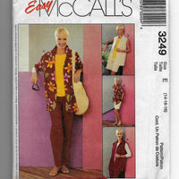 Size 14-16-18 Women Shirt Top Pants Shorts Easy McCalls 3249 Sewing Pattern /Uncut