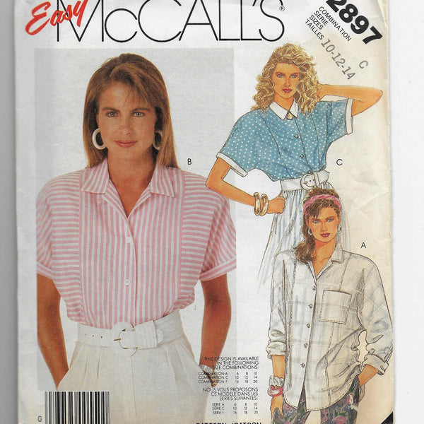 Size 10-14 Vintage 80s Dolman Sleeves Notched Collar Blouses Sewing Pattern, Easy McCalls 2897 / Uncut