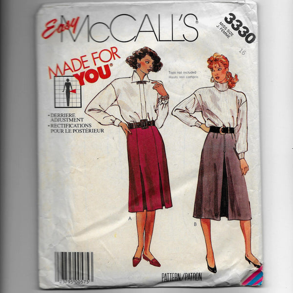 Sz 16, Vintage 80s Skirts Easy McCalls 3330 Sewing Pattern