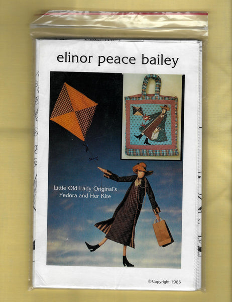 Elinor Peace Bailey Fedora Cloth Doll and Kite, Tote Bag, Little Old Lady Original's Sewing Craft Pattern/ Uncut