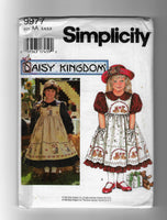 Size 3-6 Girls Dress Pinafore 90s Simplicity 9977 Daisy Kingdom Sewing Pattern Uncut