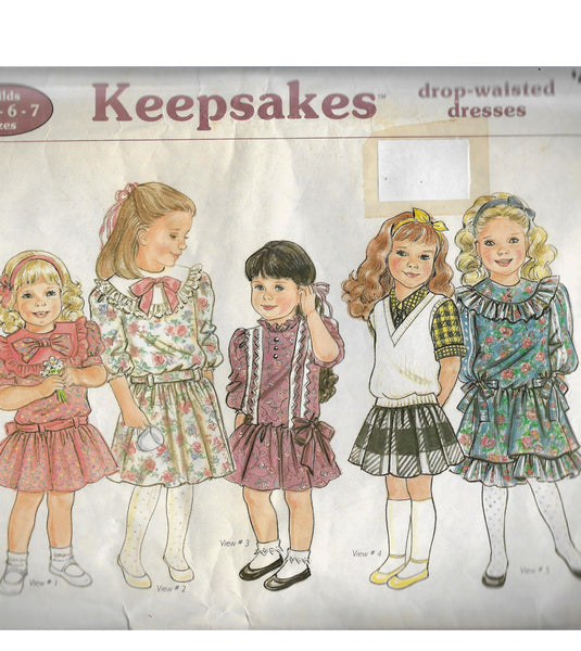 Girls 80s Drop-Waisted Dresses, Sunrise Designs Keepsakes Vintage Sewing Pattern, Child Sizes 4-5-6-7 / Uncut