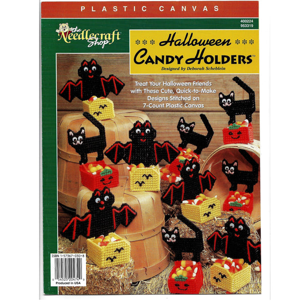 Halloween Candy Holders Plastic Canvas Craft Pattern - Cats, Bats, Jack-o-lanterns, Baskets