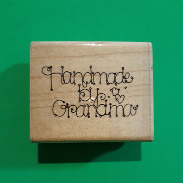 Handmade by Grandma Wood Mounted Rubber Stamp, Retired Vintage 1990s DOTS H231