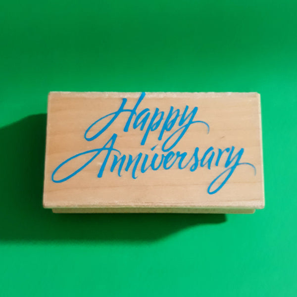 Happy Anniversary Wood Mount Rubber Stamp, Retired 1996 Hero Arts F465