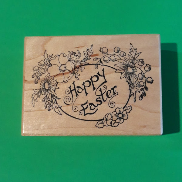 Happy Easter Wood Mount Rubber Stamp, Retired PSX F657