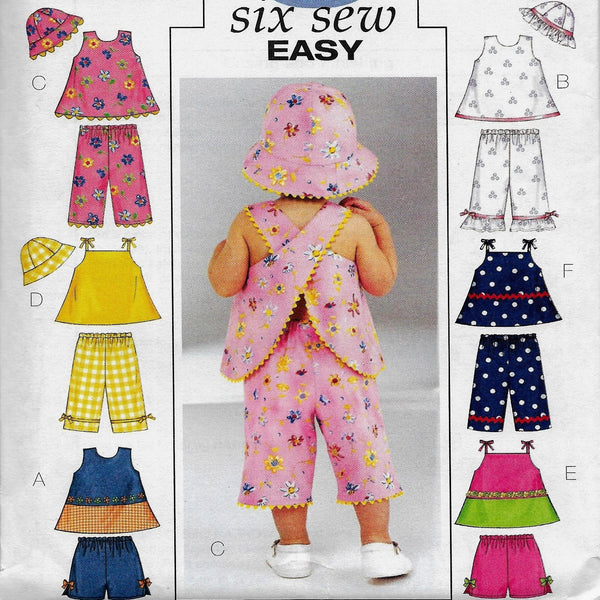 6 Easy Infants/ Babies Tops Shorts Pants Hats Sewing Pattern Sizes NB S M, Butterick 3846 /Uncut