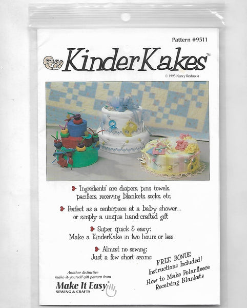 Baby Shower Centerpiece Handcrafted Fabric Cakes, Kinderkakes Sewing Craft Pattern 9511