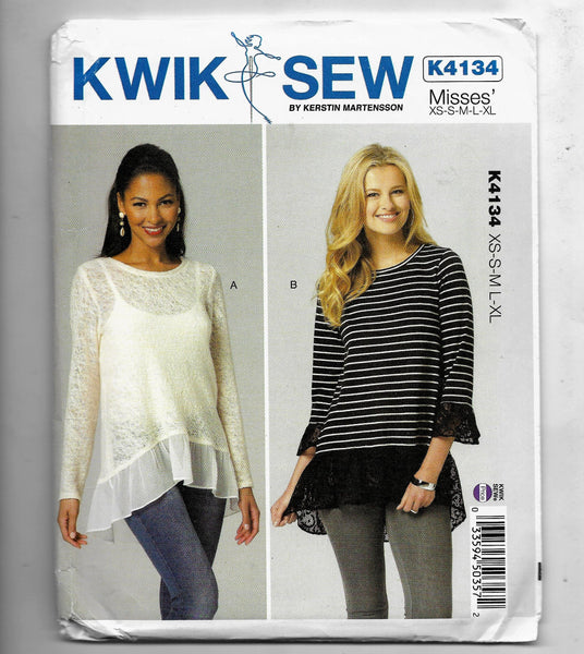 Misses XS-XL, Kwik Sew K4134 Ladies Tops with Empire Waist and Lower Edge Ruffle, Uncut
