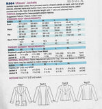 Shawl Collar Jackets Kwik Sew K664 Sewing Pattern, Misses XS - XL, Uncut