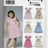6 Dresses Made Easy Simplicity 5704 Sewing Pattern Girls 3-8 / Uncut