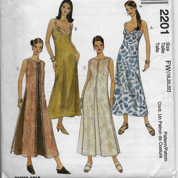 Size 28, 20, 22 - Petite-Able Plus Size Slipdresses and Overdresses McCalls 2201, Uncut