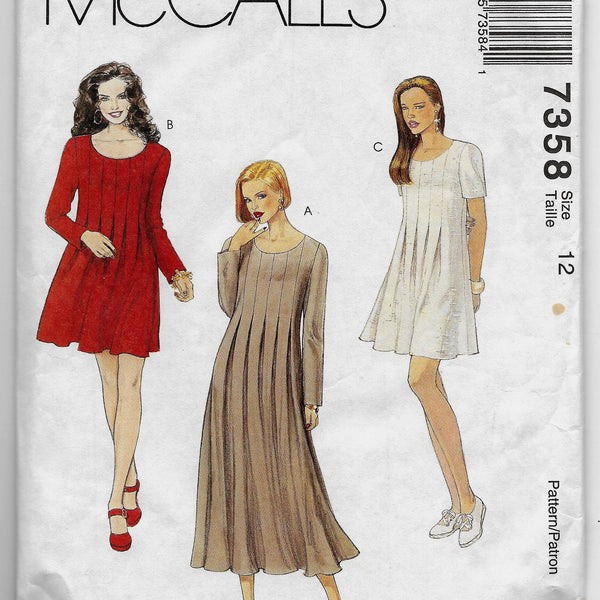 Size 12, Women's 90s Loose-fitting Dresses McCalls 7358 Sewing Pattern