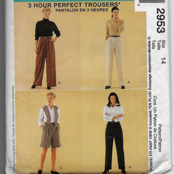 Size 14 Women Classic Fit Pants Shorts Palmer/Pletsch McCalls 2953 Sewing Pattern /Uncut