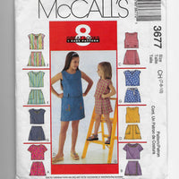 Size 7-8-10 Girls Tops Skorts McCalls 3677 Sewing Pattern - 8 Great Looks/ Uncut